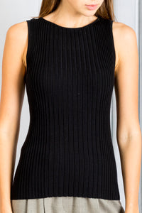 Shaila Ribbed Sleeveless Fitted Knit Top - Black