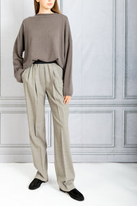 Palazzu Front Pleat Tapered Pant - Beige