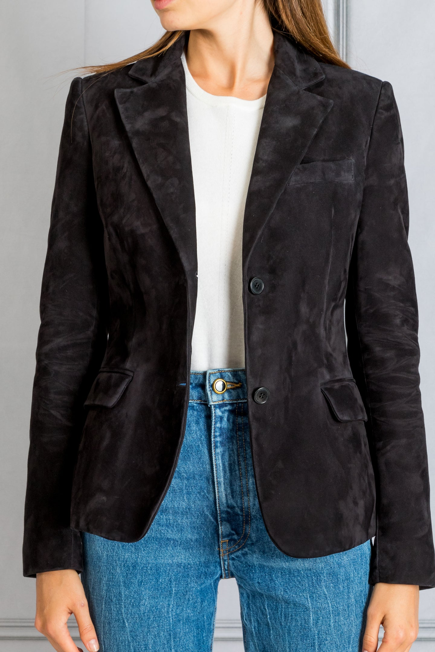 Fitted Suede Blazer - Black