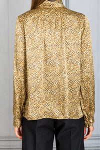 High Neck Printed Blouse - Oro