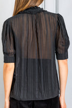 Load image into Gallery viewer, Phille Ruffle Neck Chemise Blouse - Noir
