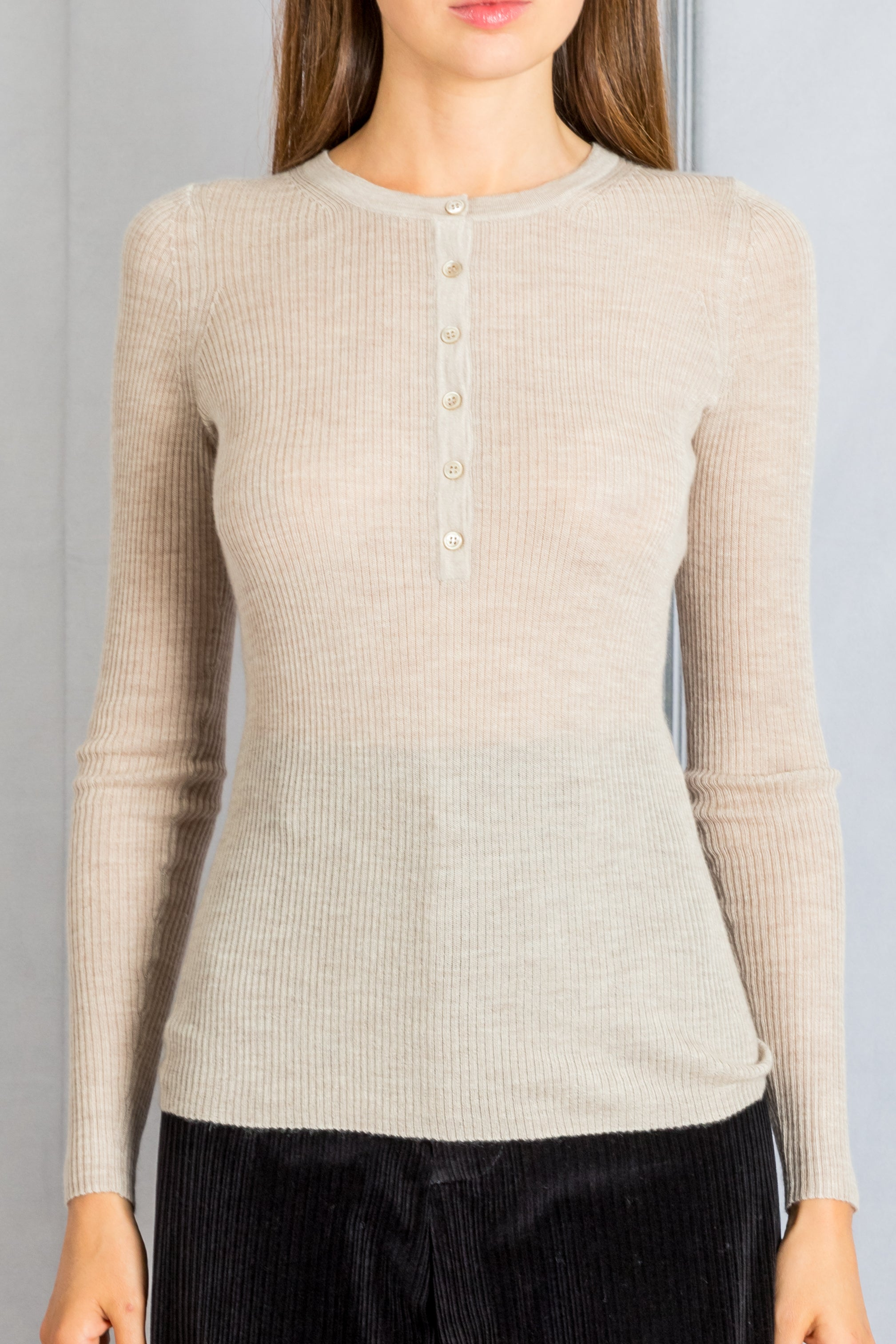 Long Sleeve Henley Knit Tee - Oatmeal