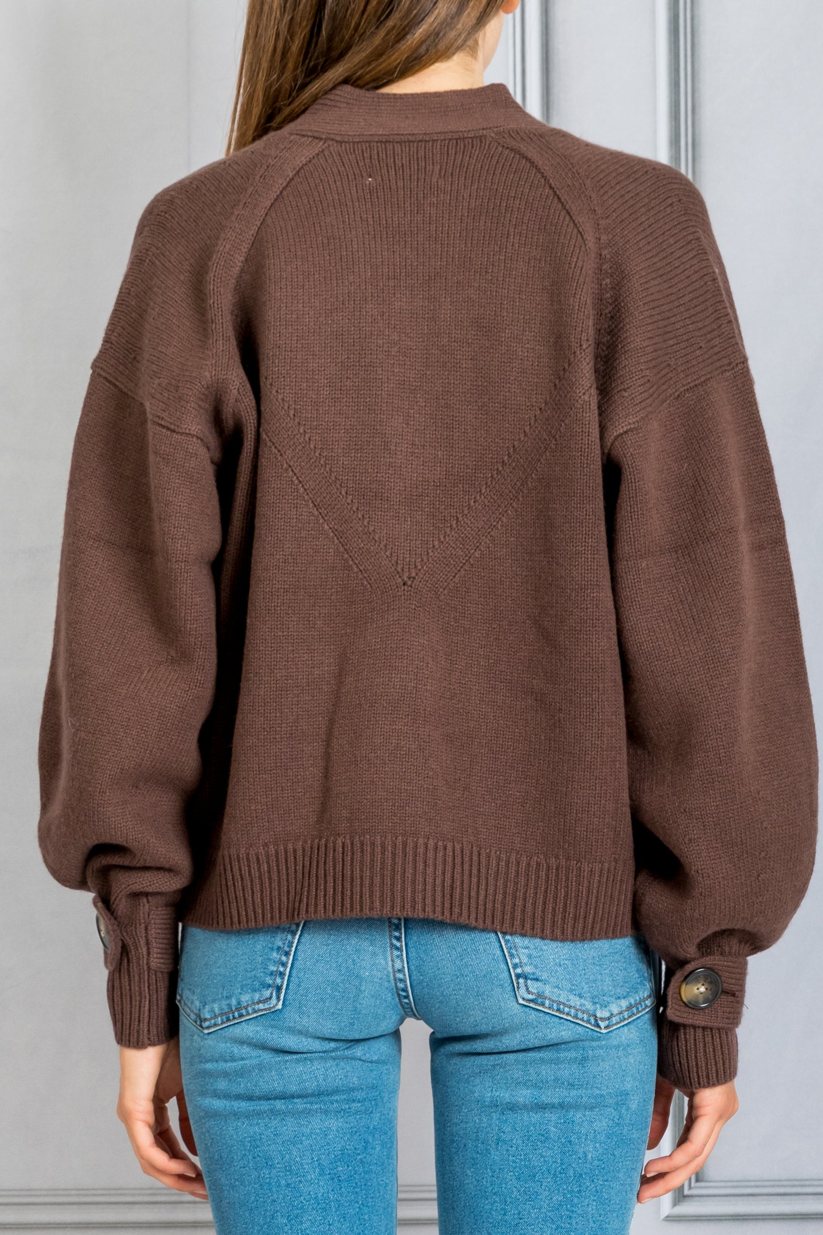 Tiberine Cardigan Sweater - Dark Brown