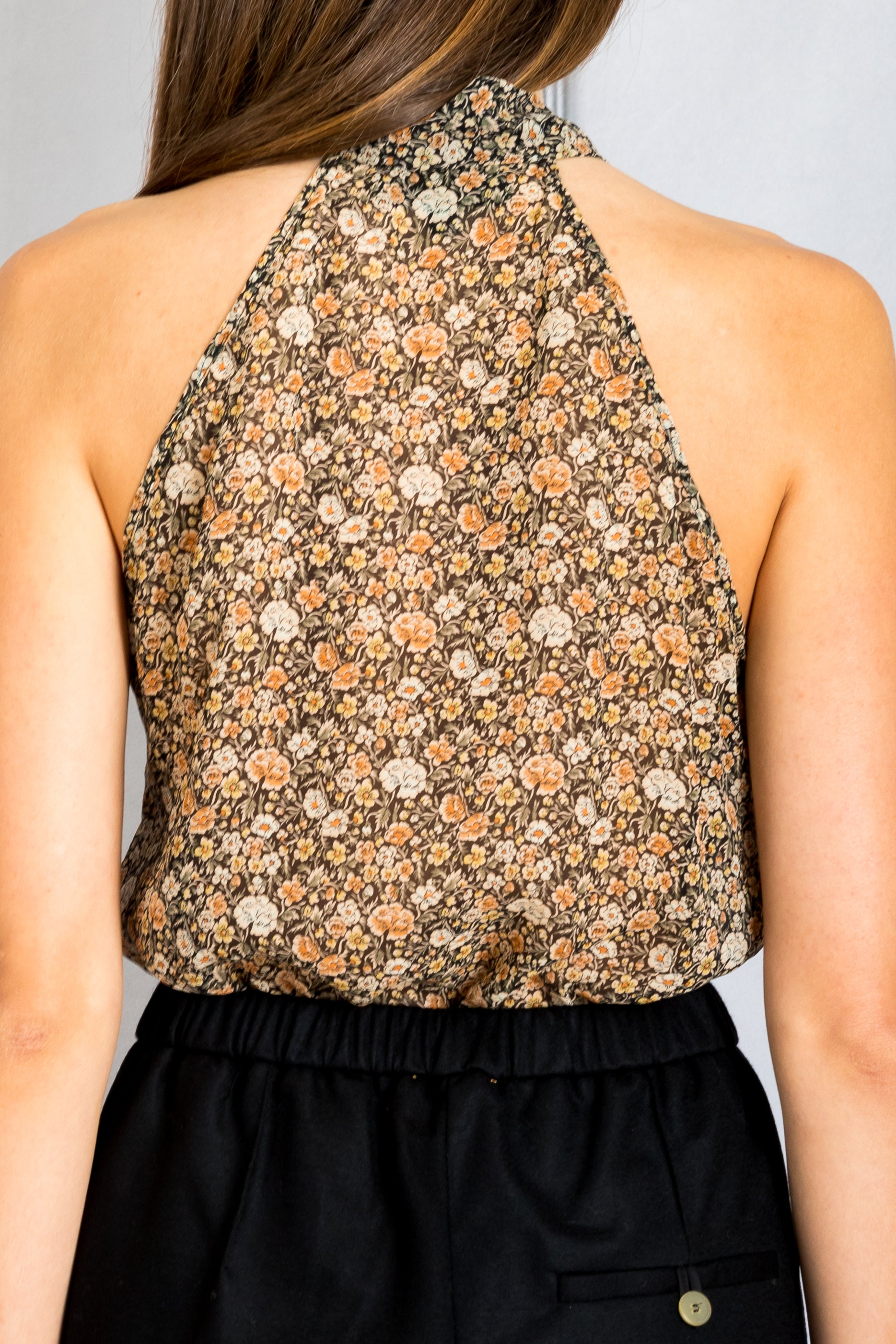 Tie Neck Halter Top - Multi Floral