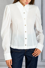 Load image into Gallery viewer, Puff Shoulder Slim Fit Button Up Shirt - White