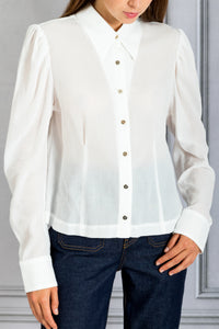 Puff Shoulder Slim Fit Button Up Shirt - White