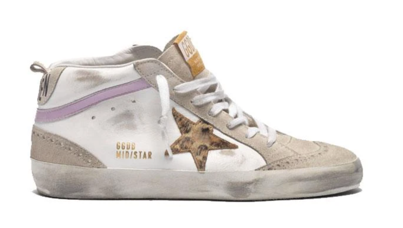 Mid Star High Top Sneak with Leopard Star