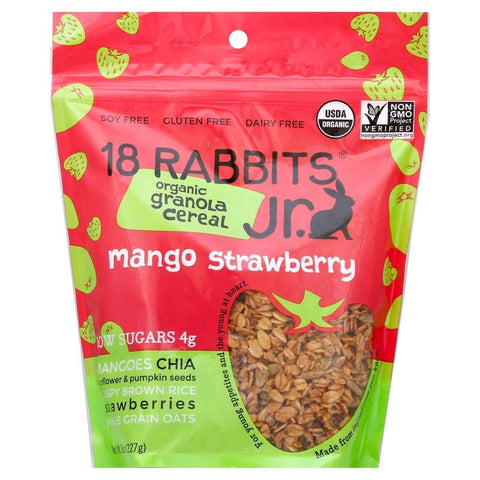 18 RABBITS: Mango Strawberry Granola Cereal Jr, 8 oz