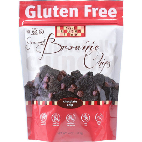 123 GLUTEN FREE: Gourmet Brownie Chips Chocolate Chip, 4 oz