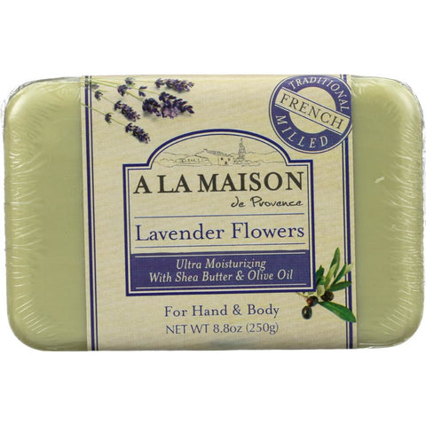 A LA MAISON DE PROVENCE: Hand & Body Bar Soap Lavender Flowers, 8.8 Oz