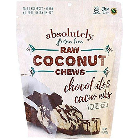 ABSOLUTELY GLUTEN FREE: Chews Coconut With Cocoa Nibs, 5 oz