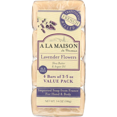 A LA MAISON DE PROVENCE: Traditional French Milled Bar Soap Value Pack Lavender Flowers 4 Bars, 14 oz