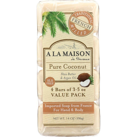 A LA MAISON: Pure Coconut Bar Soap 4 Bars Value Pack, 14 oz