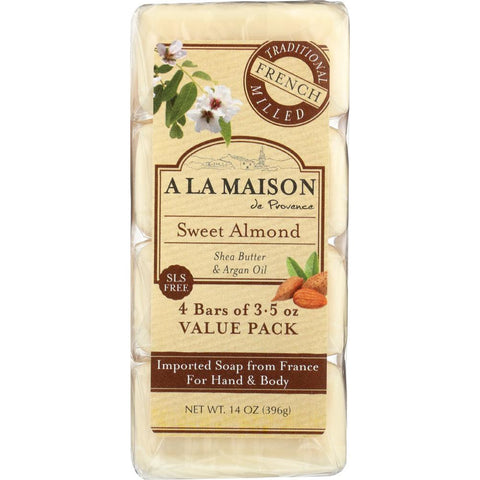 A LA MAISON: Sweet Almond Bar Soap 4 Bars Value Pack, 14 oz
