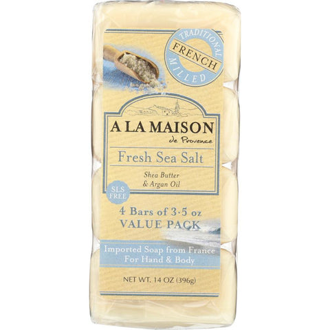 A LA MAISON: Fresh Sea Salt Bar Soap 4 Bars Value Pack, 14 oz