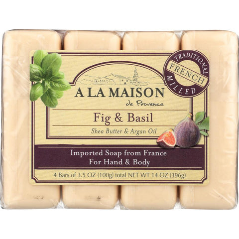 A LA MAISON: Fig & Basil Bar Soap 4 Bars Value Pack, 14 oz