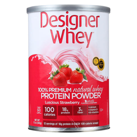 Designer Whey - Protein Powder - Natural Whey - Luscious Strawberry - 12 Oz