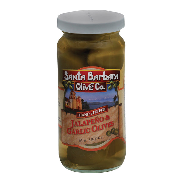 Santa Barbara Stuffed Olives - Garlic And Jalapeno Double Stuffed - Case Of 6 - 5 Oz.