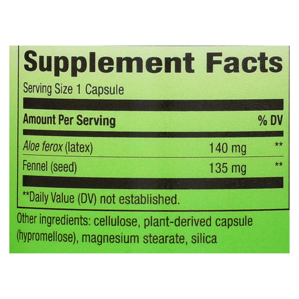Nature's Way - Aloe Latex With Fennel - 100 Vegetarian Capsules