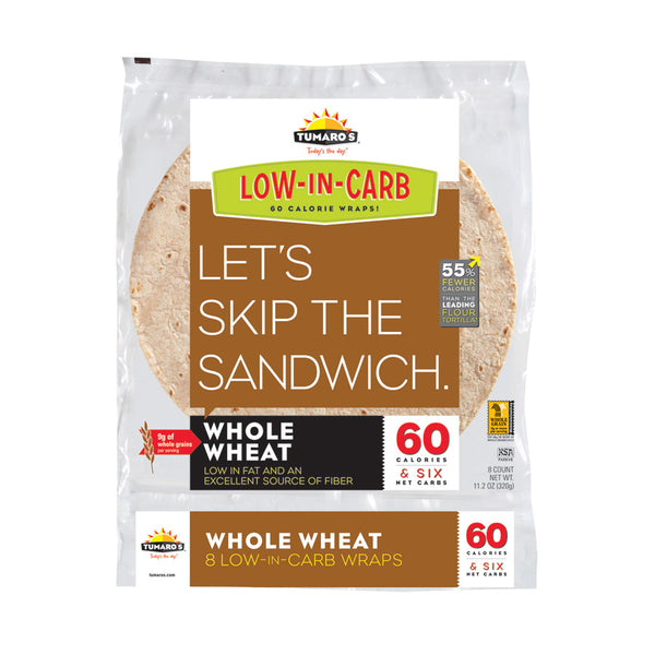 "Tumaros Low-in-carb Wraps - Whole Wheat - 8"" - 8 Ct - Case Of 6"