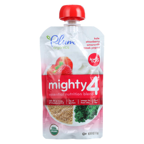 Plum Organics Essential Nutrition Blend - Mighty 4 - Kale Strawberry Amaranth Greek Yogurt - 4 Oz - Case Of 6