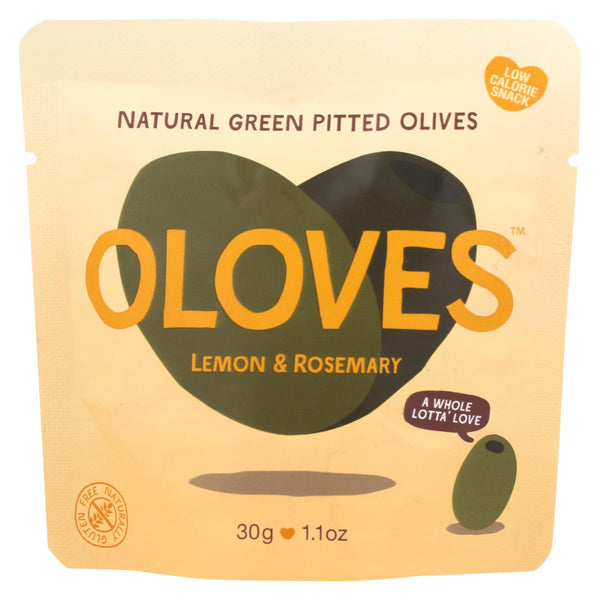 Oloves Green Pitted Olives - Lemon And Rosemary - Case Of 10 - 1.1 Oz.
