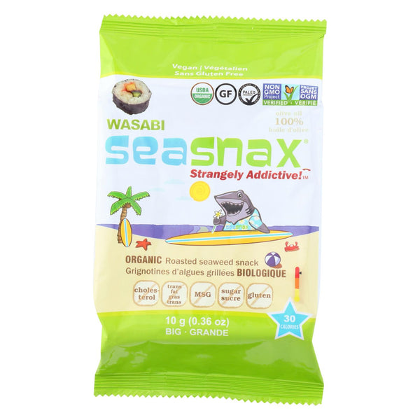 Seasnax Seaweed Snax - Organic - Wasabi - Case Of 12 - .36 Oz