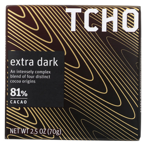 Tcho Chocolate Dark Chocolate Bar - Extra Dark 81 Percent Cacao - Case Of 12 - 2.5 Oz.