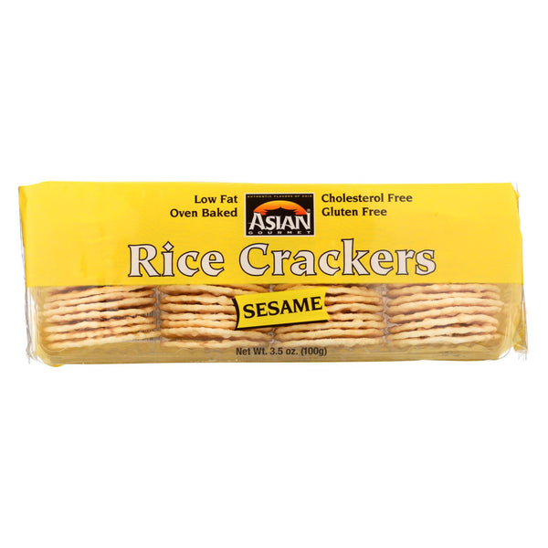 Asian Gourmet Rice Crackers - Sesame - Case Of 12 - 3.5 Oz.
