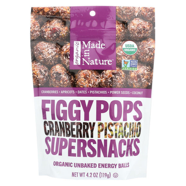 Made In Nature Figgy Pops - Cranberry Pistachio - Case Of 6 - 4.2 Oz