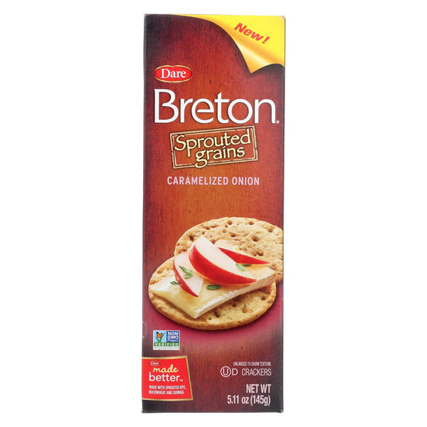 Breton-dare - Sprouted Grain Crackers - Caramelized Onion - Case Of 6 - 5.11 Oz.