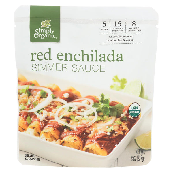 Simply Organic Simmer Sauce - Organic - Red Enchilada - Case Of 6 - 8 Oz