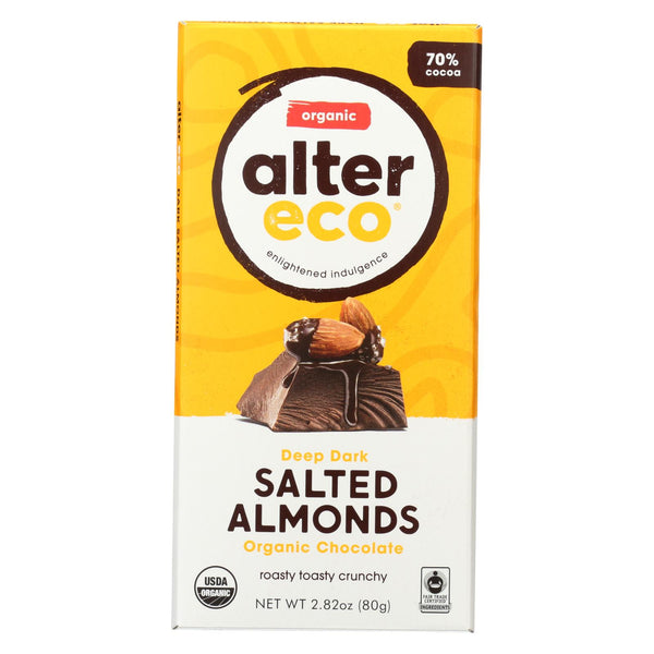 Alter Eco Chocolate Bar - Dark Salted Almonds - Case Of 12 - 2.82 Oz