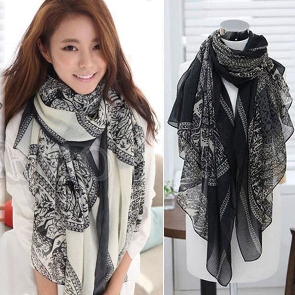 Cotton voile Print Scarves Shawl