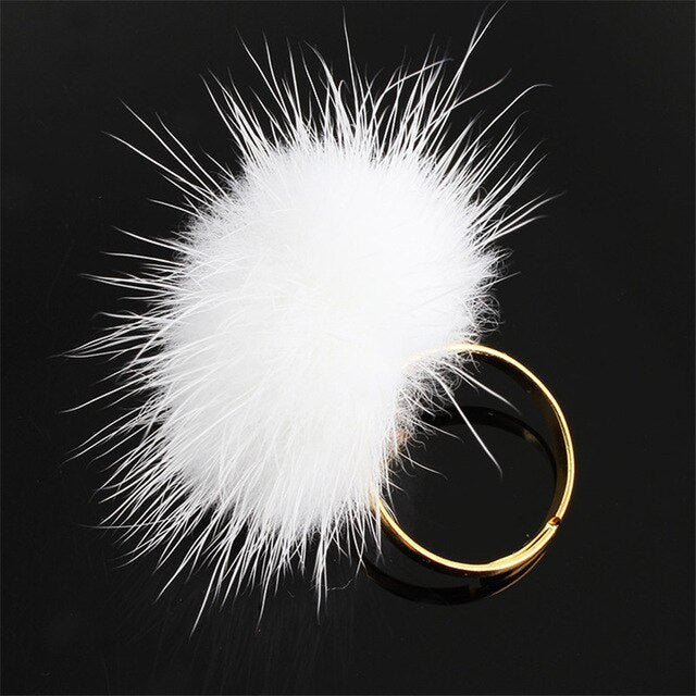 Fur Ball Pompom Adjustable Rings