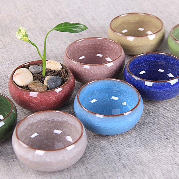 Ice-Crack Flower Pots Wicker Ceramic Plant