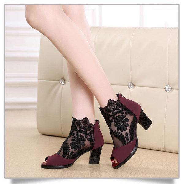 Women Embellished Suede Leather High Heel