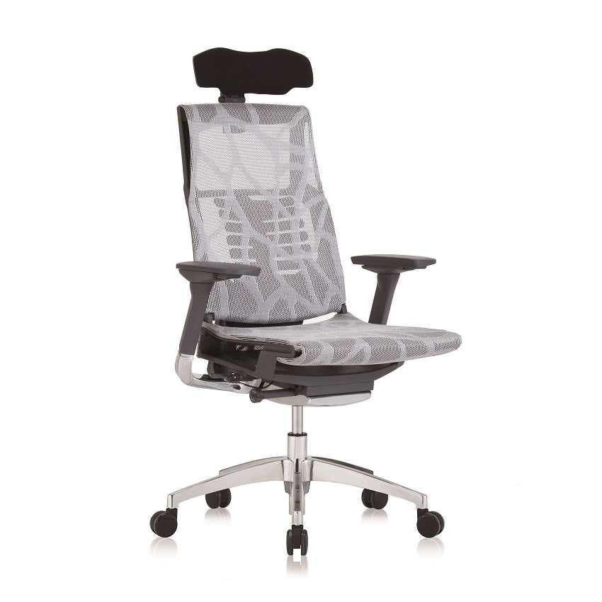 "Pofit World Class Ergonomic Chair - White Mesh With Apps ""COMFORT SMART"" Version"