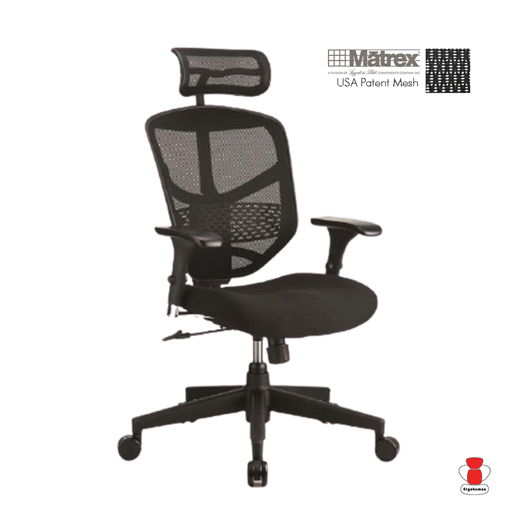 Enjoy Classic Black Back Mesh and Fabric Seat With Headrest