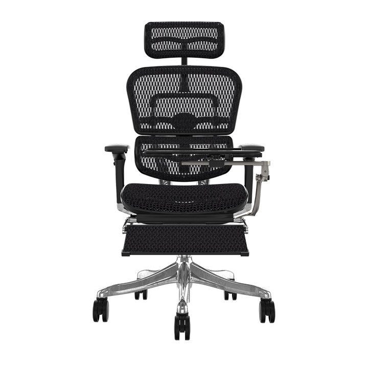 Ergohuman Plus Elite Black Mesh Chair with Legrest and Laptop Stand