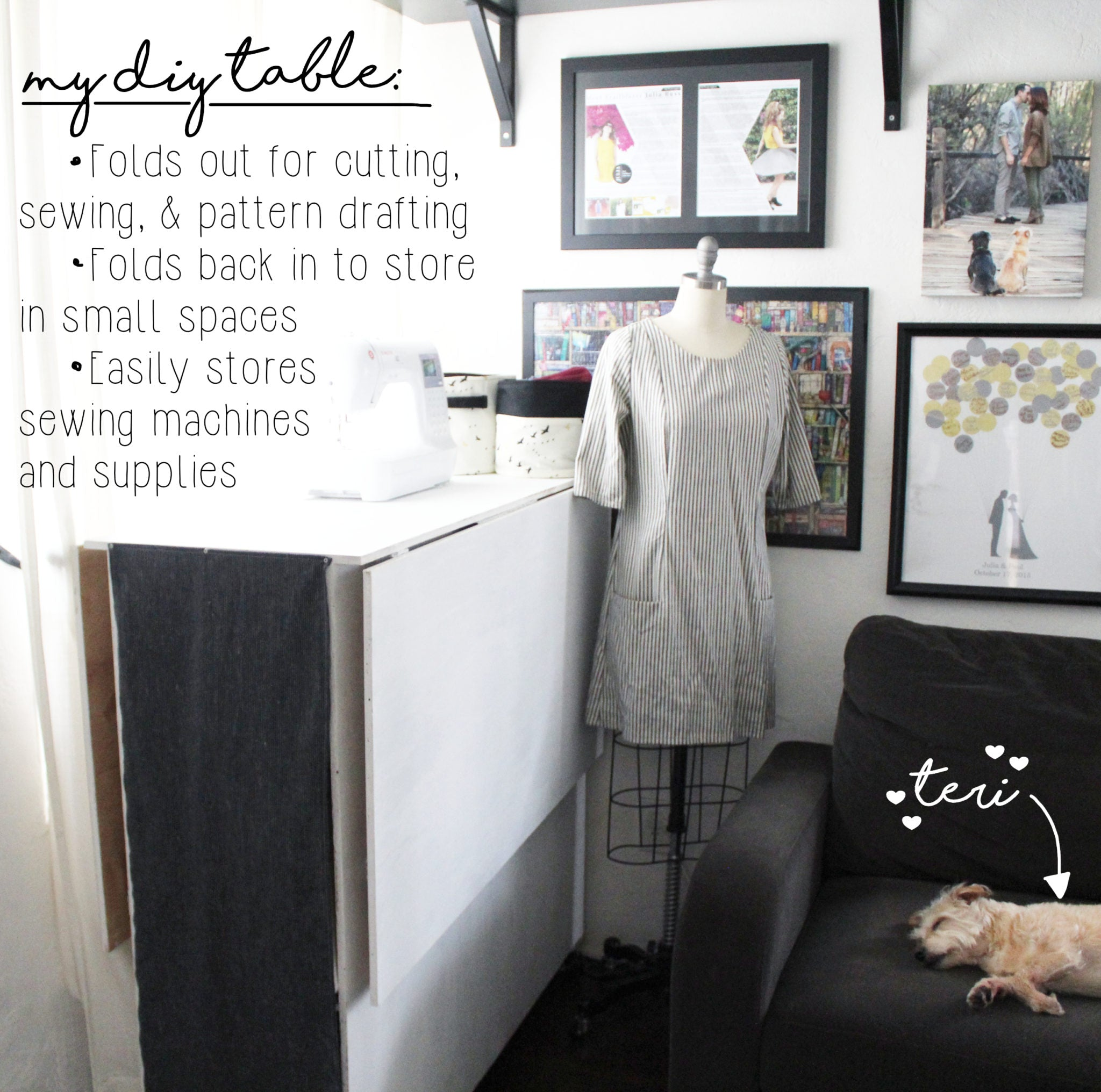 How To Organize My Sewing Space: What Makes Up My DIY Sewing Table
