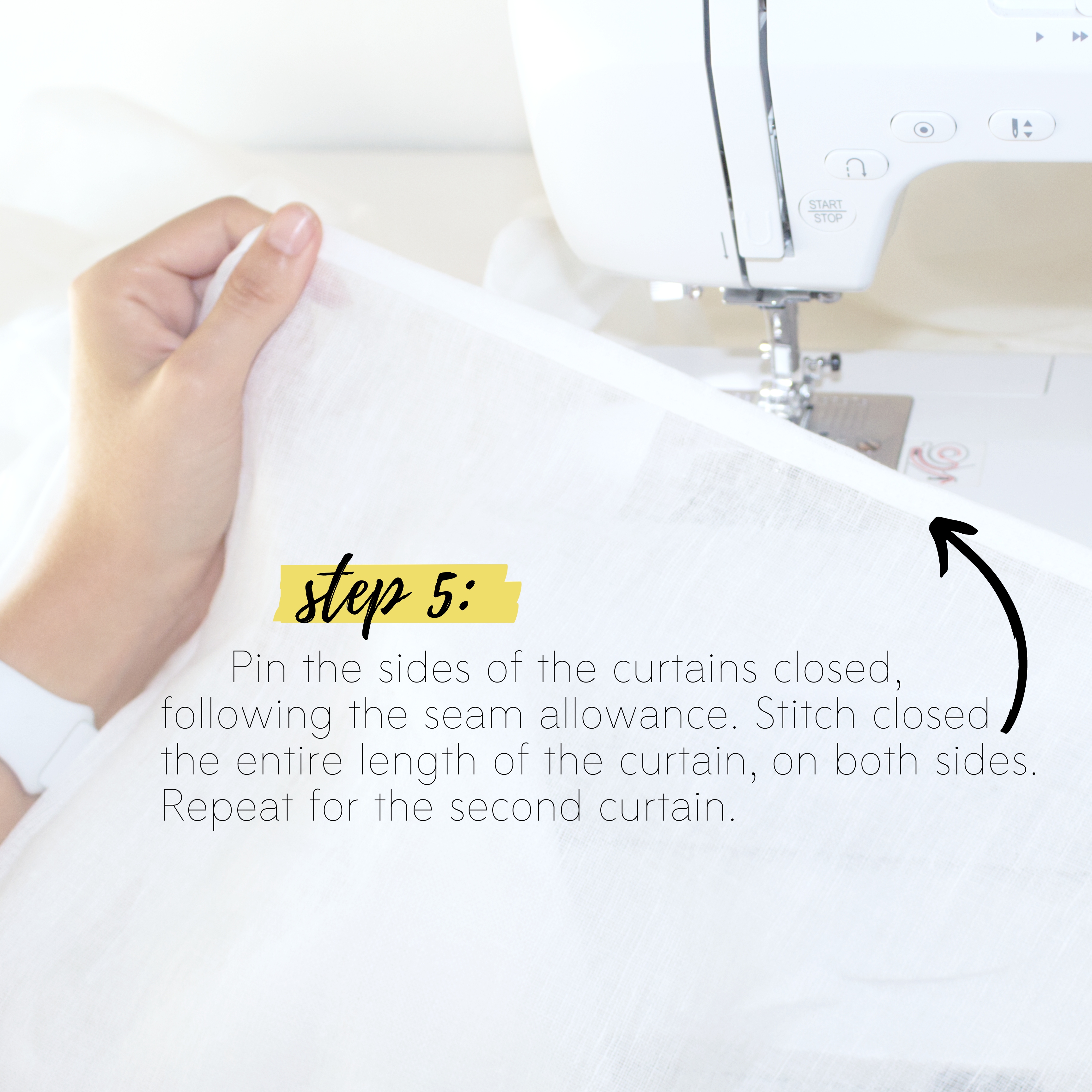 How to sew easy curtains DIY sewing tutorial: Step 5