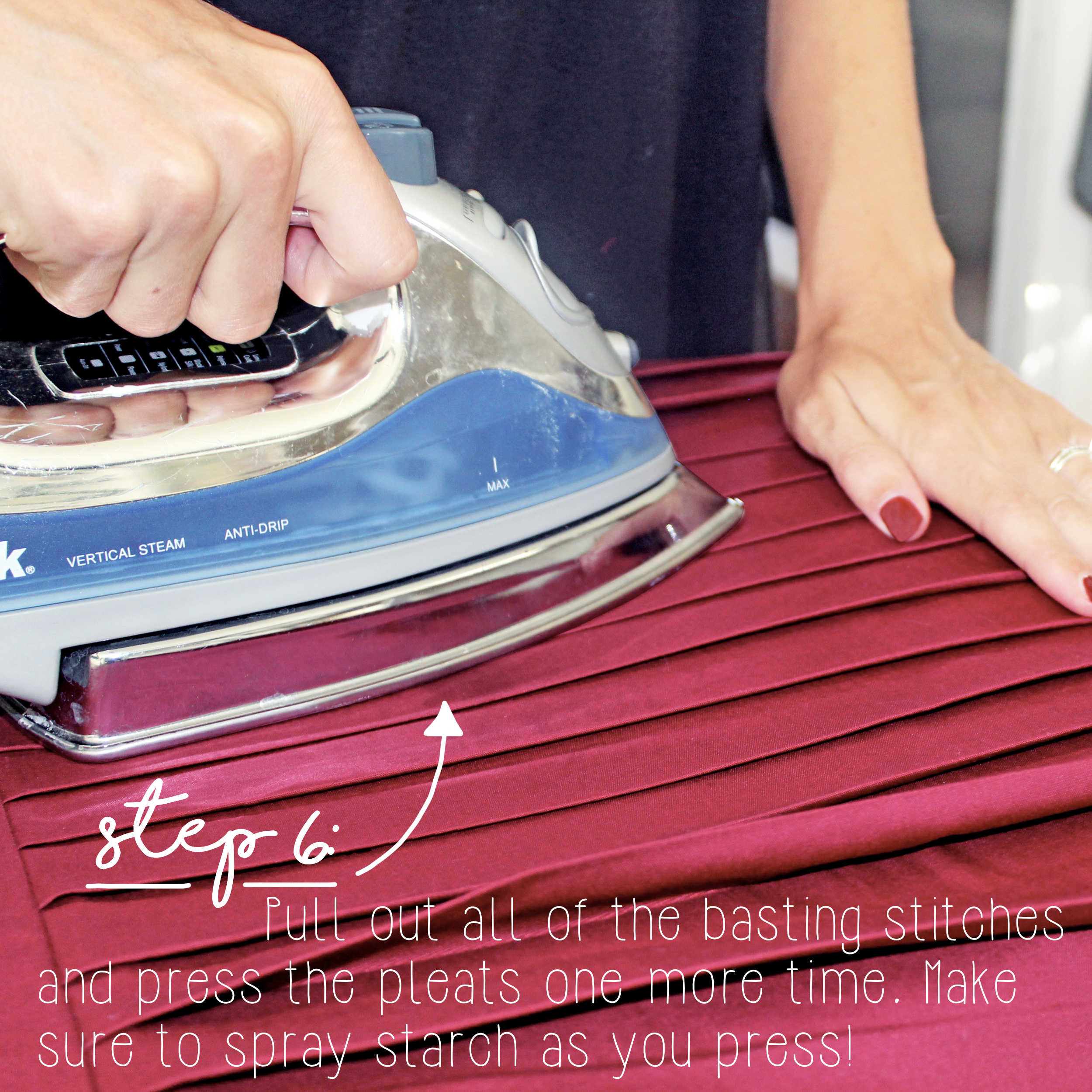 Sewing Tutorial: How To Sew Knife Pleats, Step 6