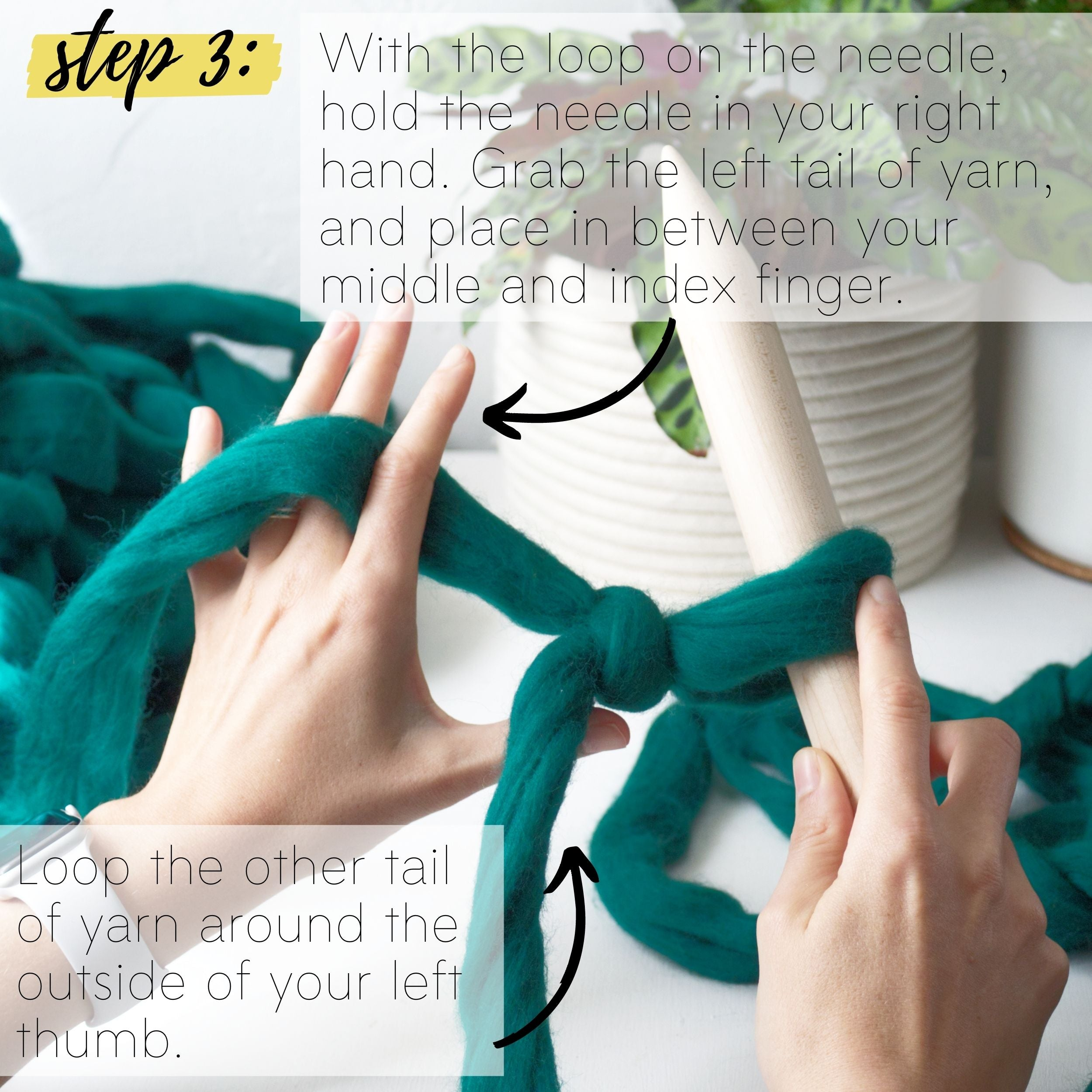 How to make a DIY chunky knit blanket, step 3