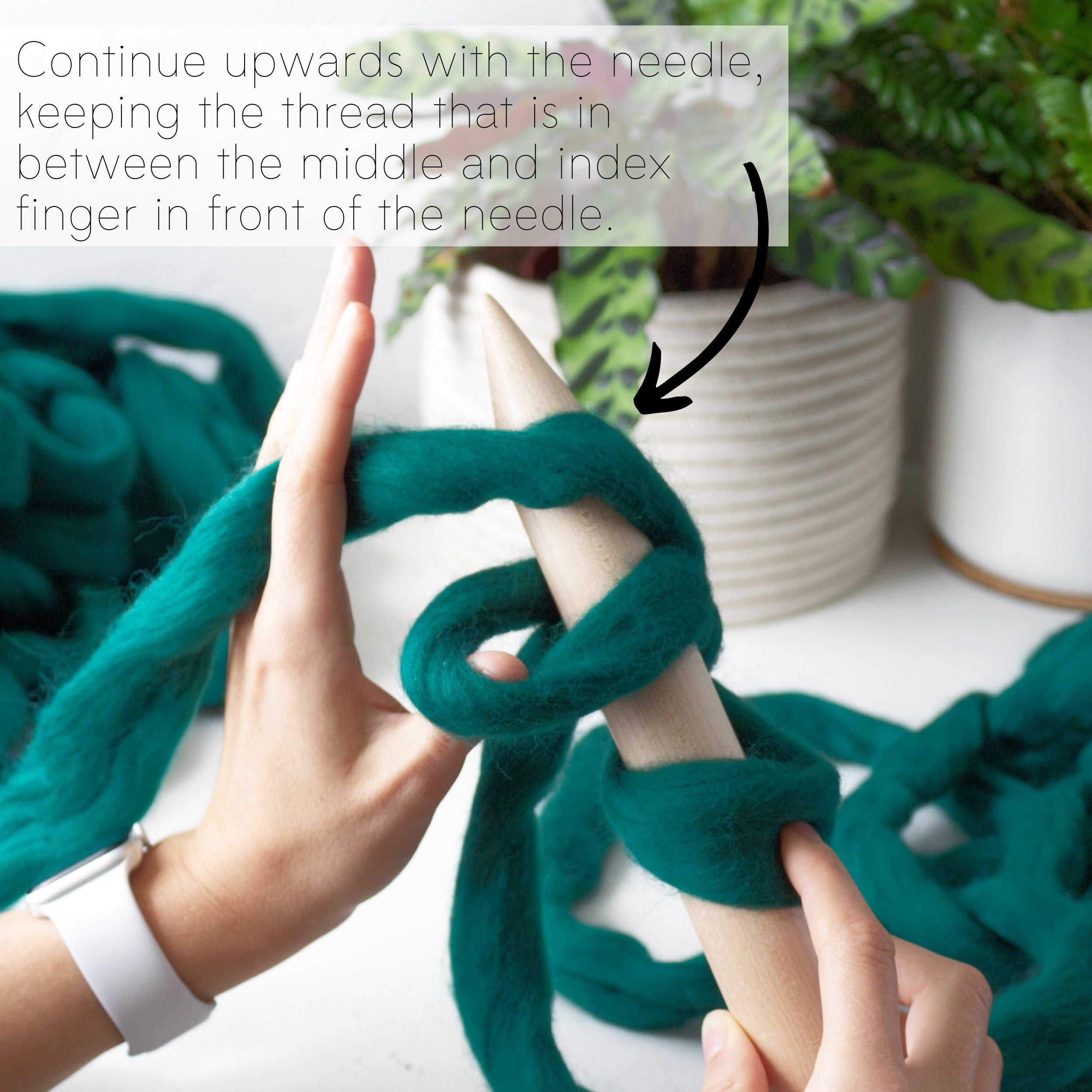 How to make a DIY chunky knit blanket, step 3.4