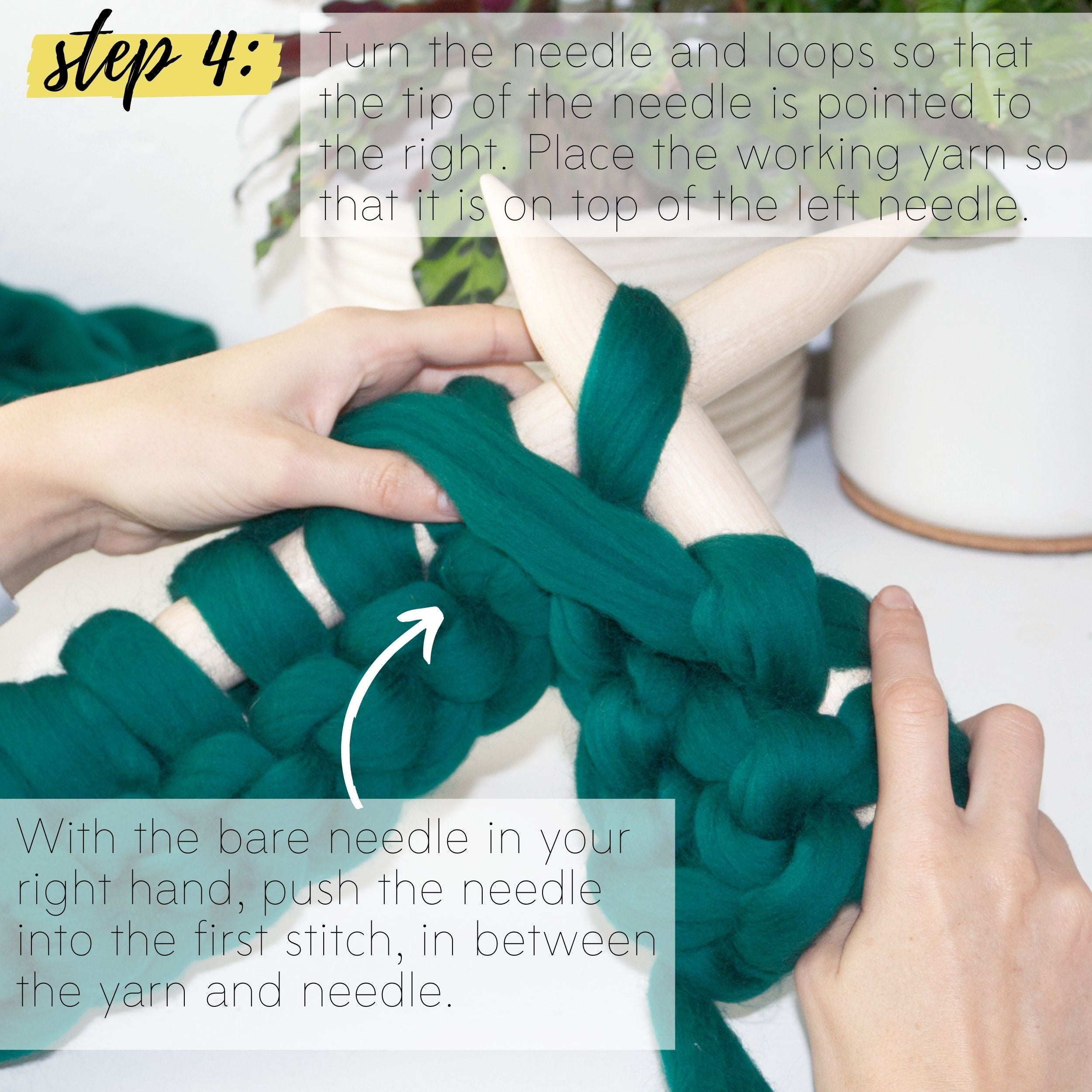 How to make a DIY chunky knit blanket, step 4