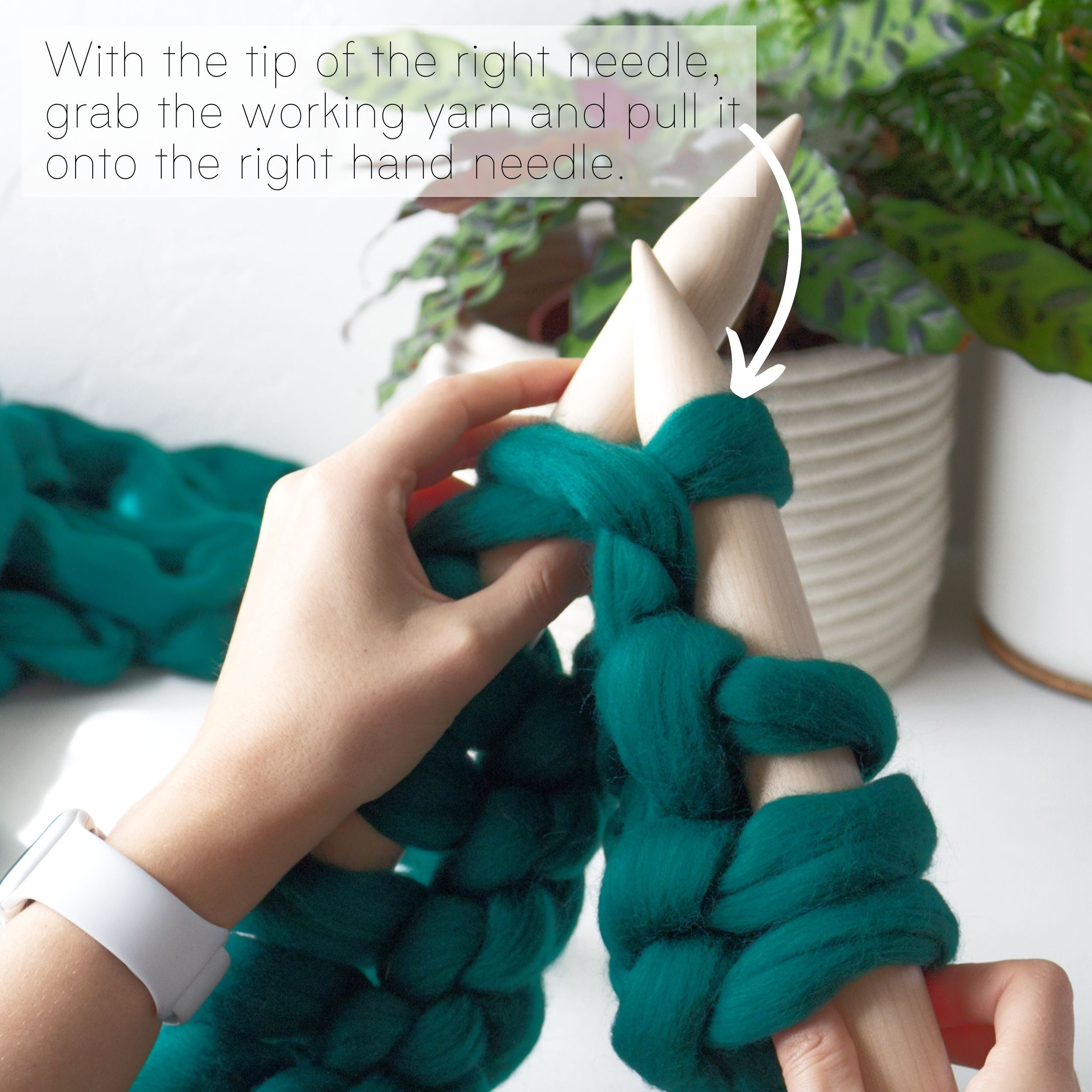 How to make a DIY chunky knit blanket, step 4.1