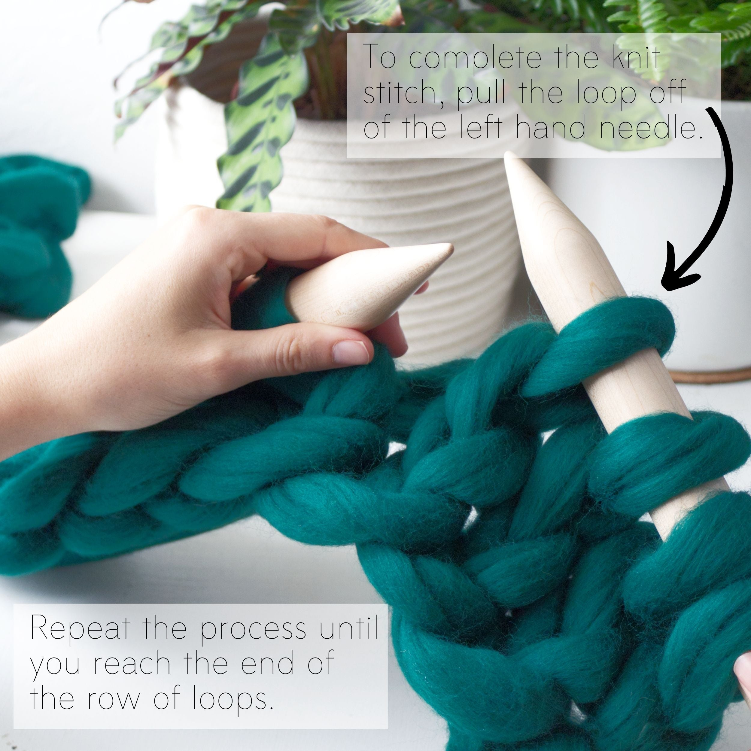 How to make a DIY chunky knit blanket, step 5.4