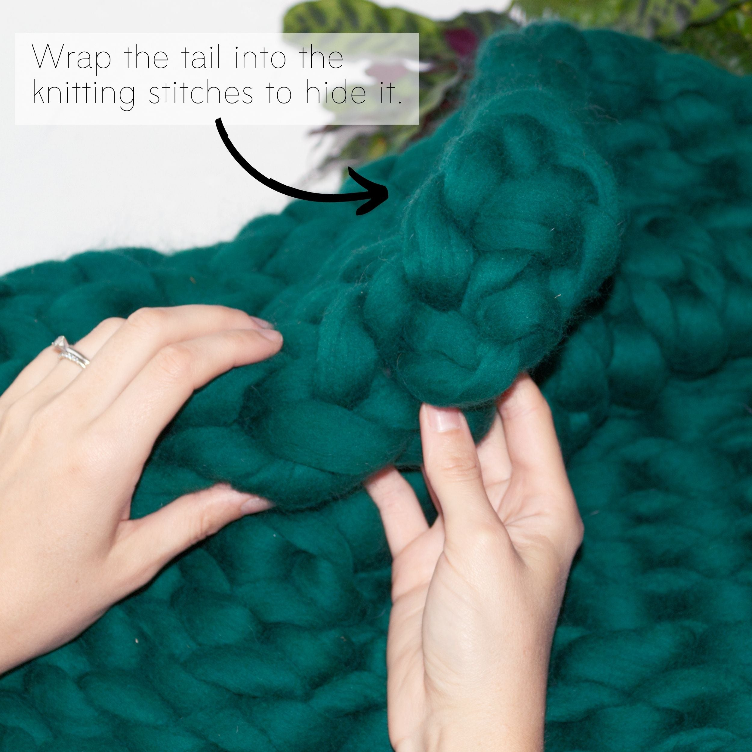 How to make a DIY chunky knit blanket, step 6.1