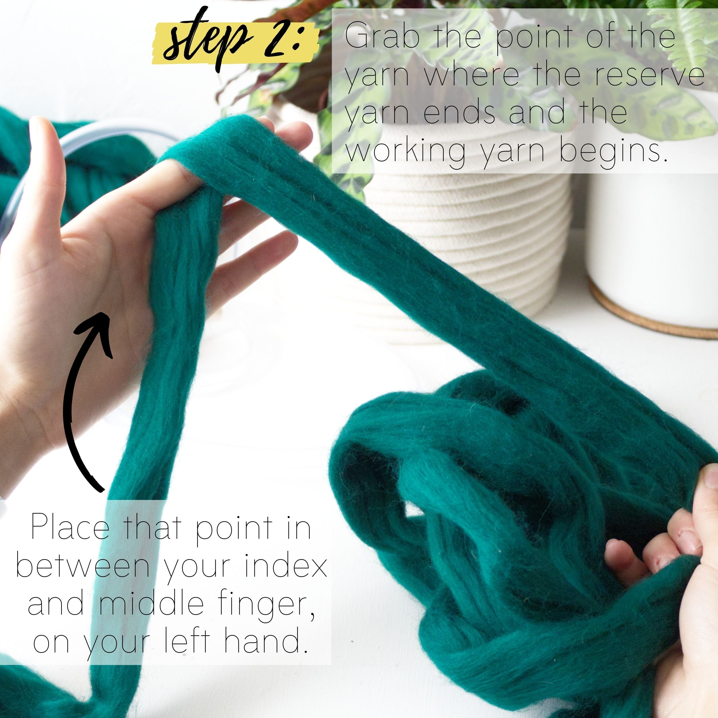How to make a DIY chunky knit blanket, step 2